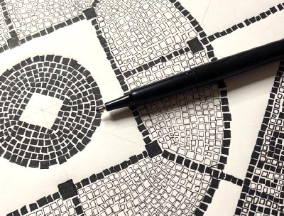 13 process sketch for textile pattern design black and white mosaic squares on paper