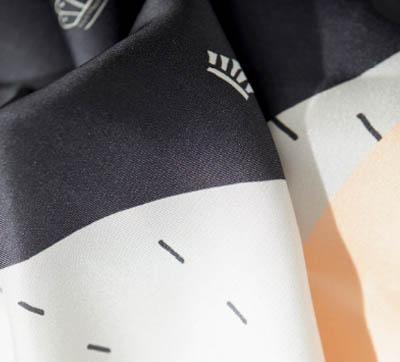 7-modern scandinavian design scarf drawn by hand on silk_inspired by travel to copenhagen_creationsawol.com