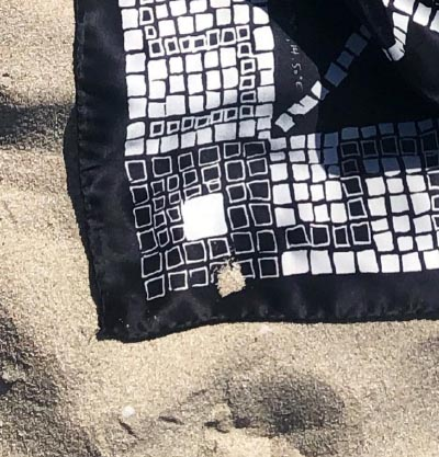 8 handcrafted black and white silk scarf inspired by mosaics in the sand