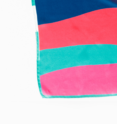 spain_color blocked pink blue and beige graphic design on silk scarf